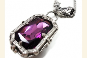 Silver and Purple Swarovski Octagon Pendant