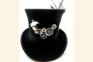 Geared Raven Steampunk Black Top Hat