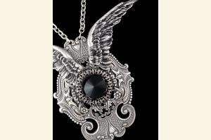 Midnight Flight Silver Wings Necklace