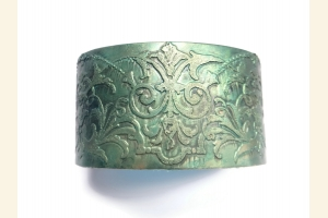 Teal Etched Brass Boho Cuff