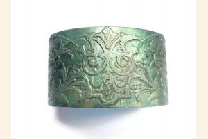 Teal Etched Brass Boho Cuff