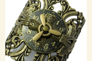 Ox Brass Cuff with Clock Face and Propeller